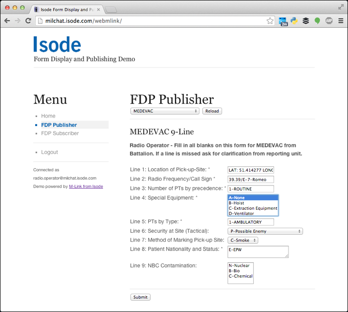 Web Interface: Publisher