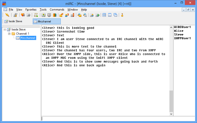 IRC Client connected to the IRC Channel linked to M-Link
